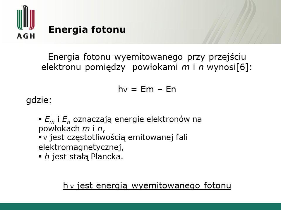 Energia fotonu Energia fotonu wyemitowanego przy przejściu elektronu pomiędzy powłokami m i n wynosi[6]: h ν = Em – En gdzie:  E m i E n oznaczają en