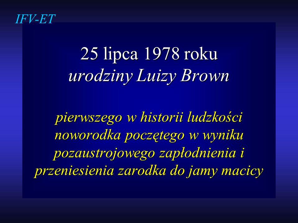 25 lipca 1978 roku urodziny Luizy Brown pierwszego w historii ludzkości noworodka poczętego w wyniku pozaustrojowego zapłodnienia i przeniesienia zaro