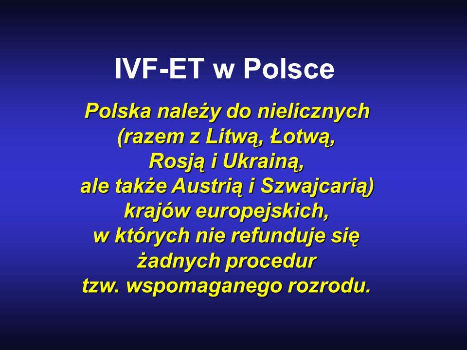 IVF-ET w Polsce Polska należy do nielicznych (razem z Litwą, Łotwą, Rosją i Ukrainą, ale także Austrią i Szwajcarią) krajów europejskich, w których ni