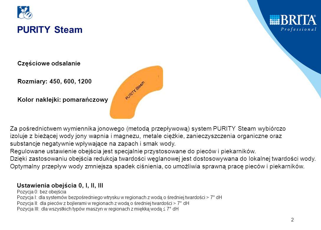 2 Częściowe odsalanie Rozmiary: 450, 600, 1200 Kolor naklejki: pomarańczowy Za pośrednictwem wymiennika jonowego (metodą przepływową) system PURITY Steam wybiórczo izoluje z bieżącej wody jony wapnia i magnezu, metale ciężkie, zanieczyszczenia organiczne oraz substancje negatywnie wpływające na zapach i smak wody.