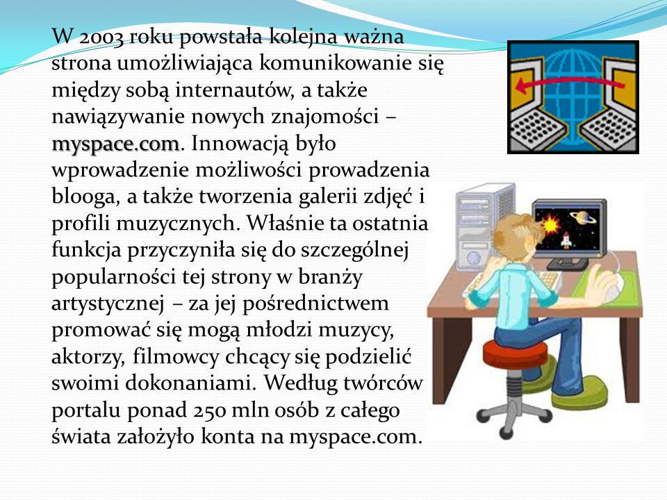 myspace.com W 2003 roku powstała kolejna ważna strona umożliwiająca komunikowanie się między sobą internautów, a także nawiązywanie nowych znajomości – myspace.com.