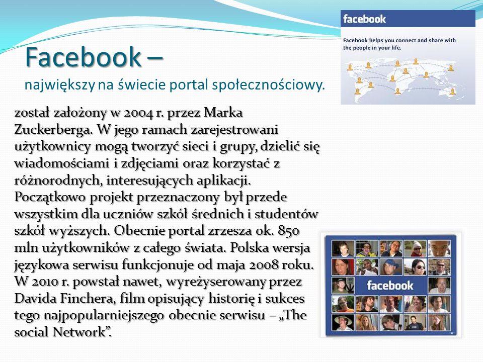 Facebook – Facebook – największy na świecie portal społecznościowy.