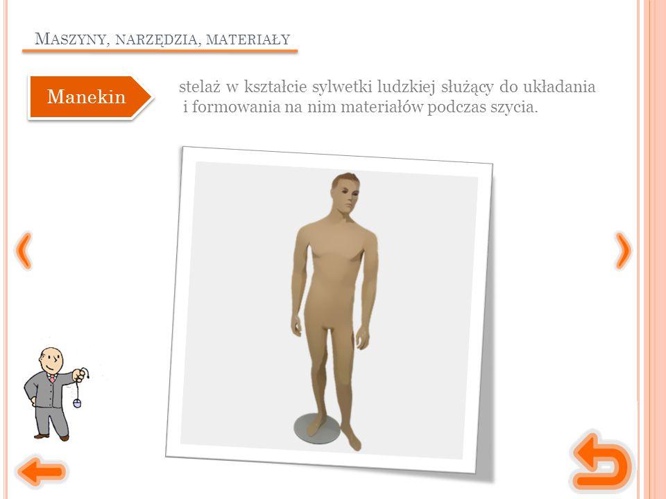 M ASZYNY, NARZĘDZIA, MATERIAŁY stelaż w kształcie sylwetki ludzkiej służący do układania i formowania na nim materiałów podczas szycia. Manekin