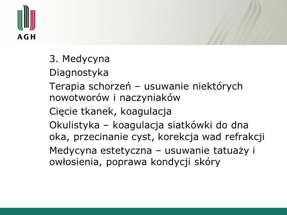 3. Medycyna Diagnostyka Terapia schorzeń – usuwanie niektórych nowotworów i naczyniaków Cięcie tkanek, koagulacja Okulistyka – koagulacja siatkówki do