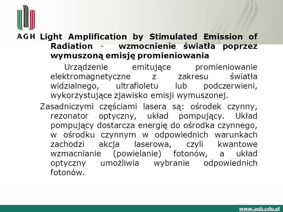 Light Amplification by Stimulated Emission of Radiation - wzmocnienie światła poprzez wymuszoną emisję promieniowania Urządzenie emitujące promieniowa