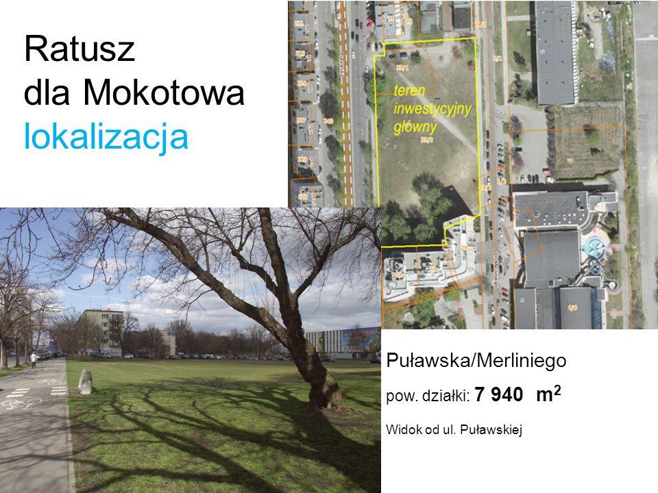 Ratusz dla Mokotowa lokalizacja teren inwestycyjny Widok od ulicy Merliniego w kierunku pierzei Puławskiej Warunki zabudowy ustala: m.p.z.p.