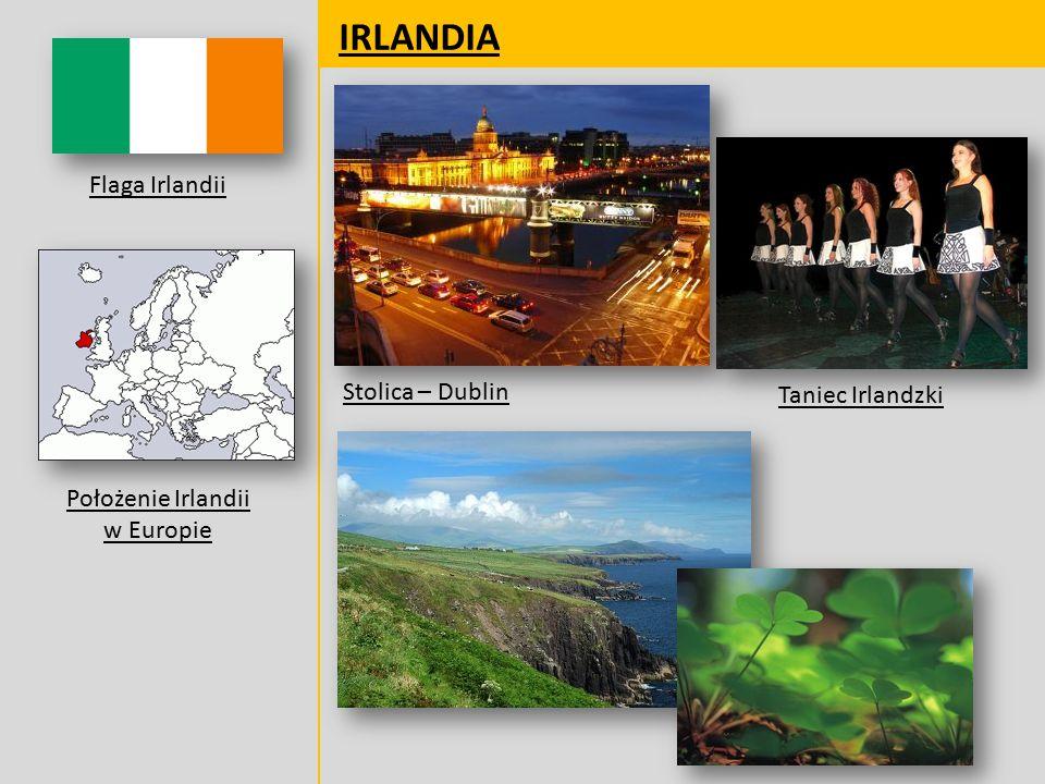 IRLANDIA Flaga Irlandii Położenie Irlandii w Europie Stolica – Dublin Taniec Irlandzki