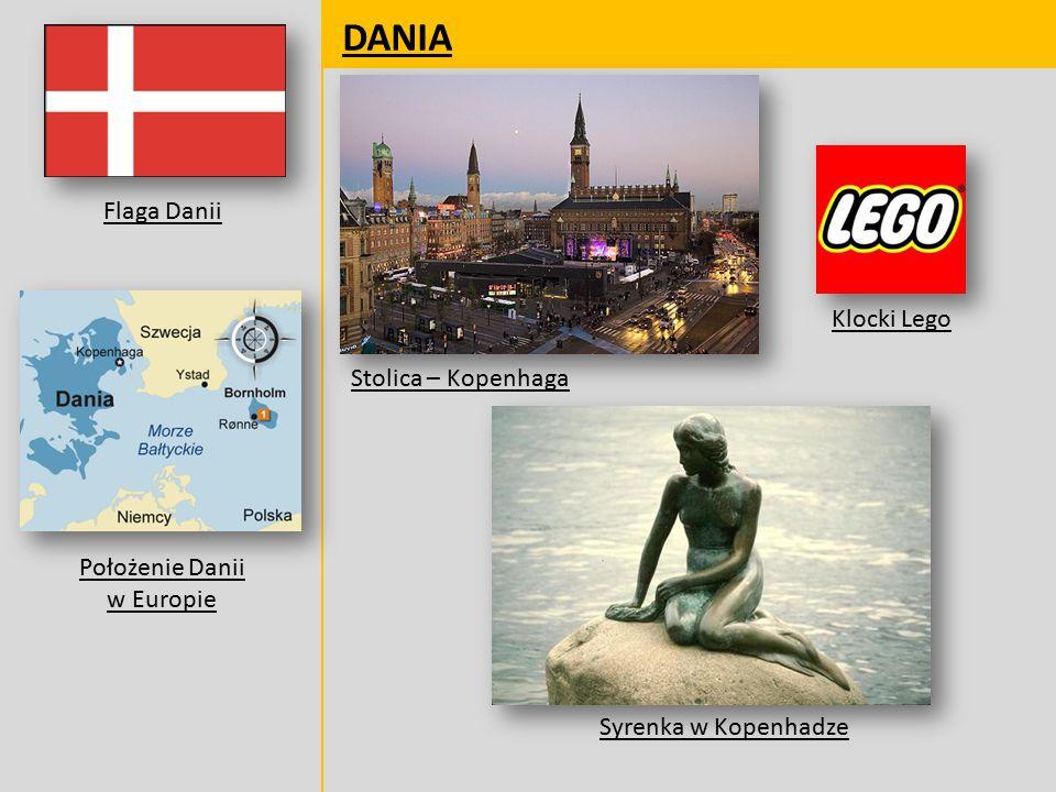 DANIA Flaga Danii Położenie Danii w Europie Stolica – Kopenhaga Klocki Lego Syrenka w Kopenhadze