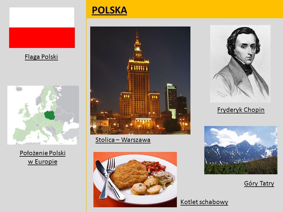 POLSKA Fryderyk Chopin Stolica – Warszawa Góry Tatry Kotlet schabowy Flaga Polski Położenie Polski w Europie