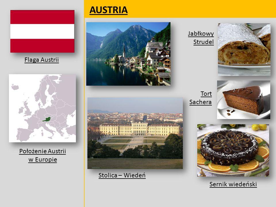 AUSTRIA Flaga Austrii Położenie Austrii w Europie Jabłkowy Strudel Tort Sachera Sernik wiedeński Stolica – Wiedeń