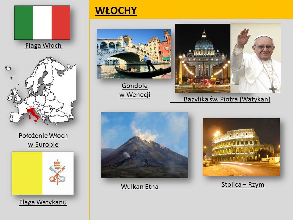 WŁOCHY Flaga Włoch Położenie Włoch w Europie Bazylika św.