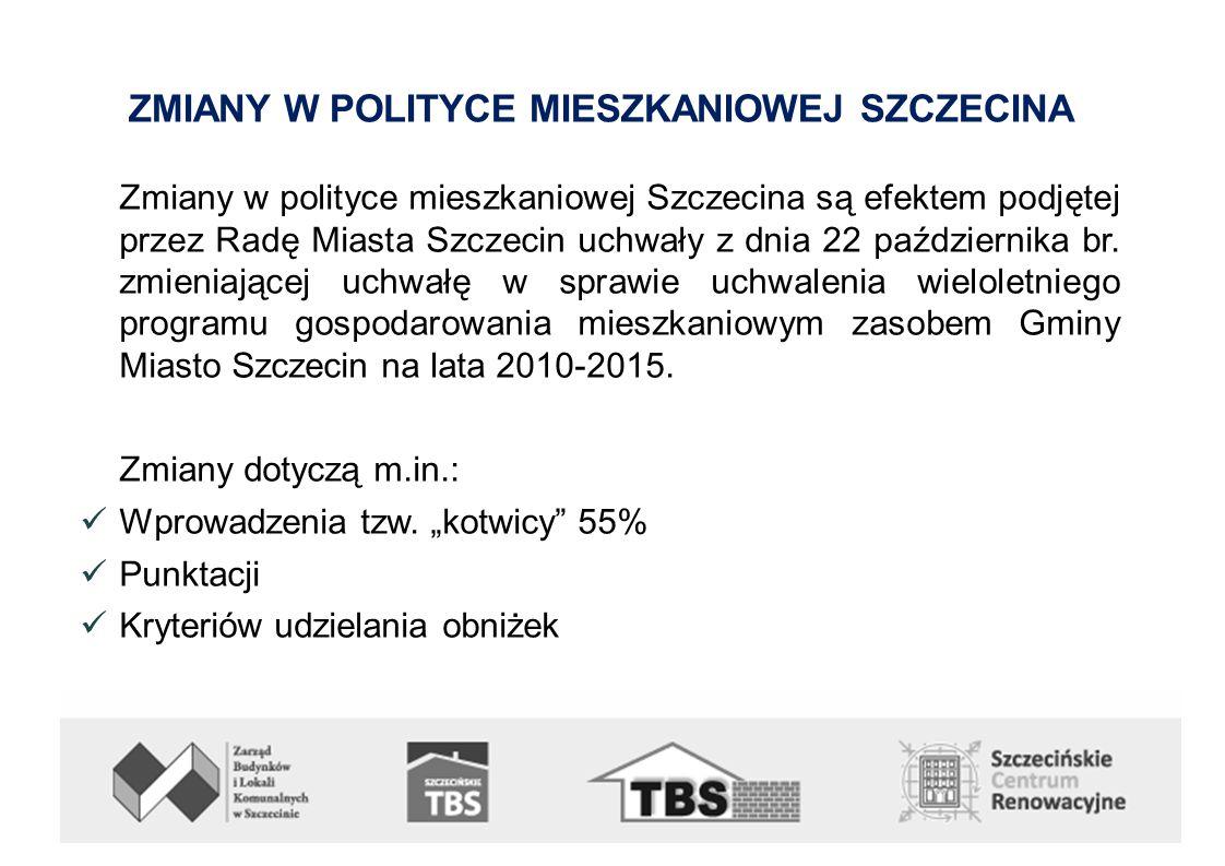ZMIANY W POLITYCE MIESZKANIOWEJ SZCZECINA Zmiany w polityce mieszkaniowej Szczecina są efektem podjętej przez Radę Miasta Szczecin uchwały z dnia 22 października br.