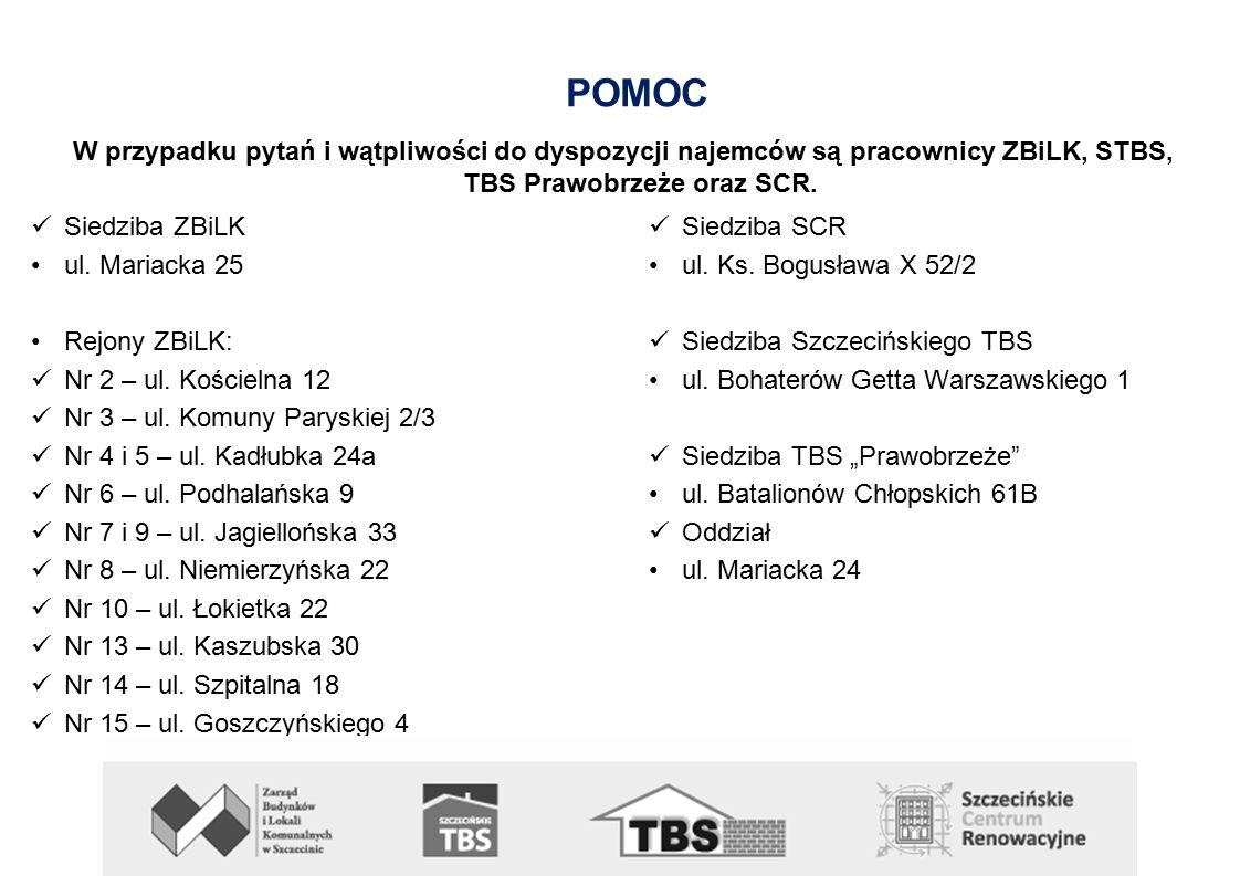 POMOC W przypadku pytań i wątpliwości do dyspozycji najemców są pracownicy ZBiLK, STBS, TBS Prawobrzeże oraz SCR.