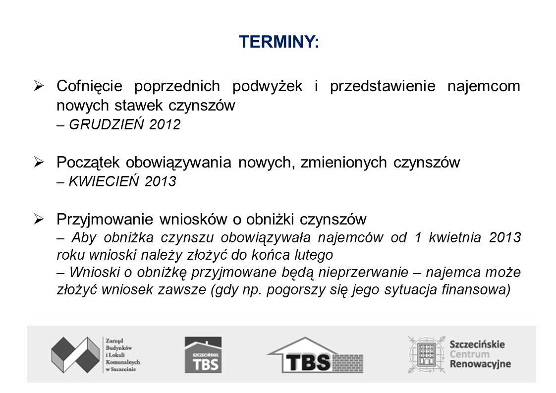 TERMINY:  Cofnięcie poprzednich podwyżek i przedstawienie najemcom nowych stawek czynszów – GRUDZIEŃ 2012  Początek obowiązywania nowych, zmienionych czynszów – KWIECIEŃ 2013  Przyjmowanie wniosków o obniżki czynszów – Aby obniżka czynszu obowiązywała najemców od 1 kwietnia 2013 roku wnioski należy złożyć do końca lutego – Wnioski o obniżkę przyjmowane będą nieprzerwanie – najemca może złożyć wniosek zawsze (gdy np.