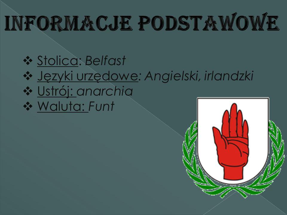  Stolica: Belfast  Języki urzędowe: Angielski, irlandzki  Ustrój: anarchia  Waluta: Funt