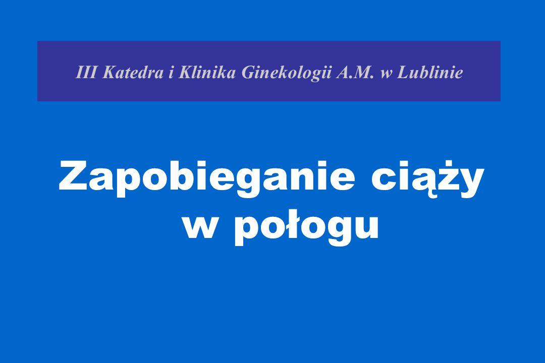 III Katedra i Klinika Ginekologii A.M. w Lublinie Zapobieganie ciąży w połogu