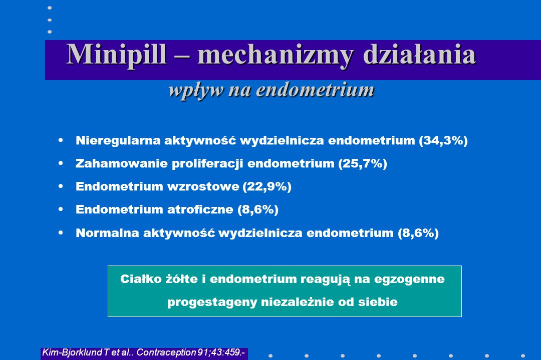 Nieregularna aktywność wydzielnicza endometrium (34,3%) Zahamowanie proliferacji endometrium (25,7%) Endometrium wzrostowe (22,9%) Endometrium atrofic