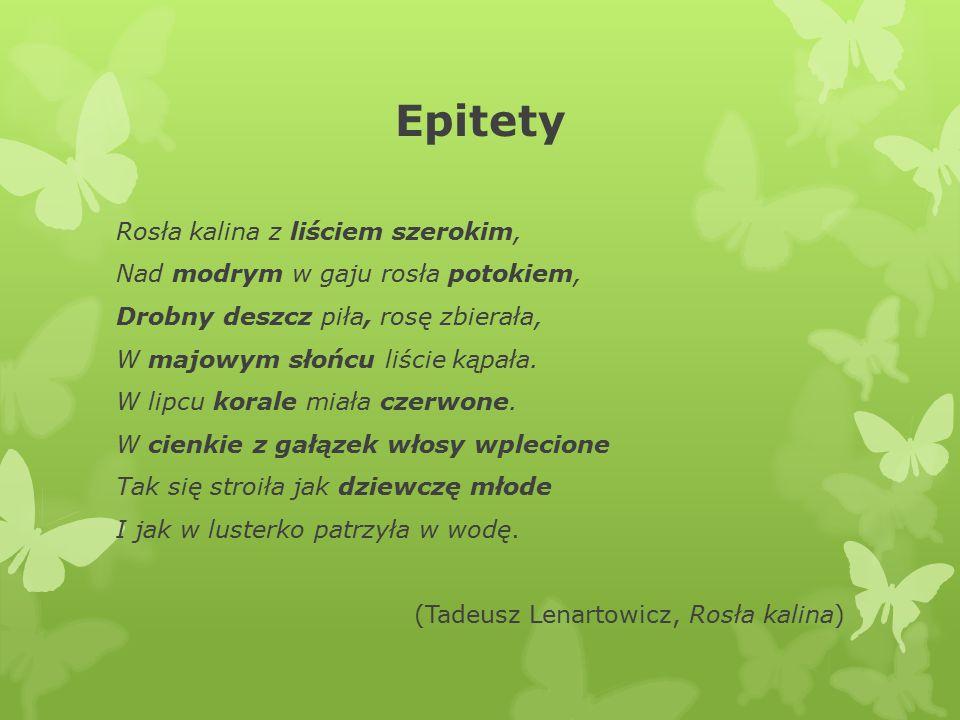 Epitety Rosła kalina z liściem szerokim, Nad modrym w gaju rosła potokiem, Drobny deszcz piła, rosę zbierała, W majowym słońcu liście kąpała.