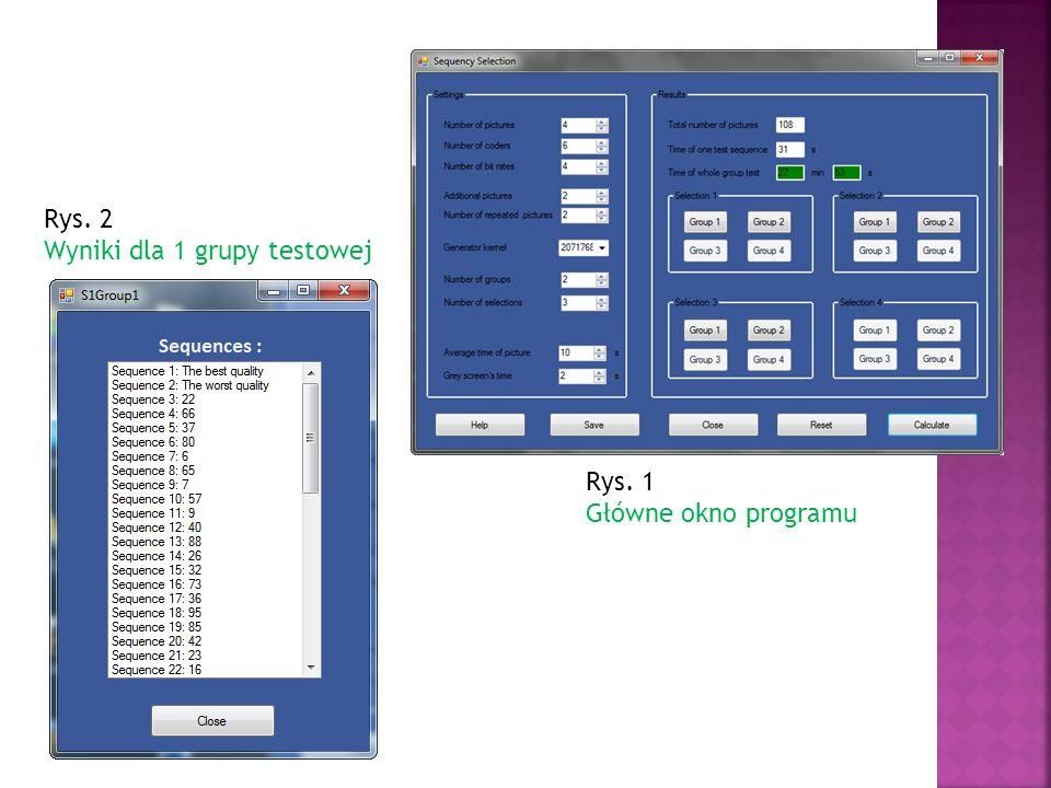 Rys. 1 Główne okno programu Rys. 2 Wyniki dla 1 grupy testowej