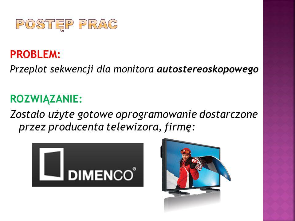 PROBLEM: Przeplot sekwencji dla monitora autostereoskopowego ROZWIĄZANIE: Zostało użyte gotowe oprogramowanie dostarczone przez producenta telewizora, firmę: