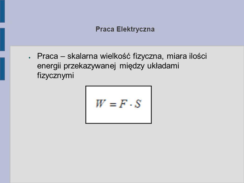● Praca – skalarna wielkość fizyczna, miara ilości energii przekazywanej między układami fizycznymi Praca Elektryczna