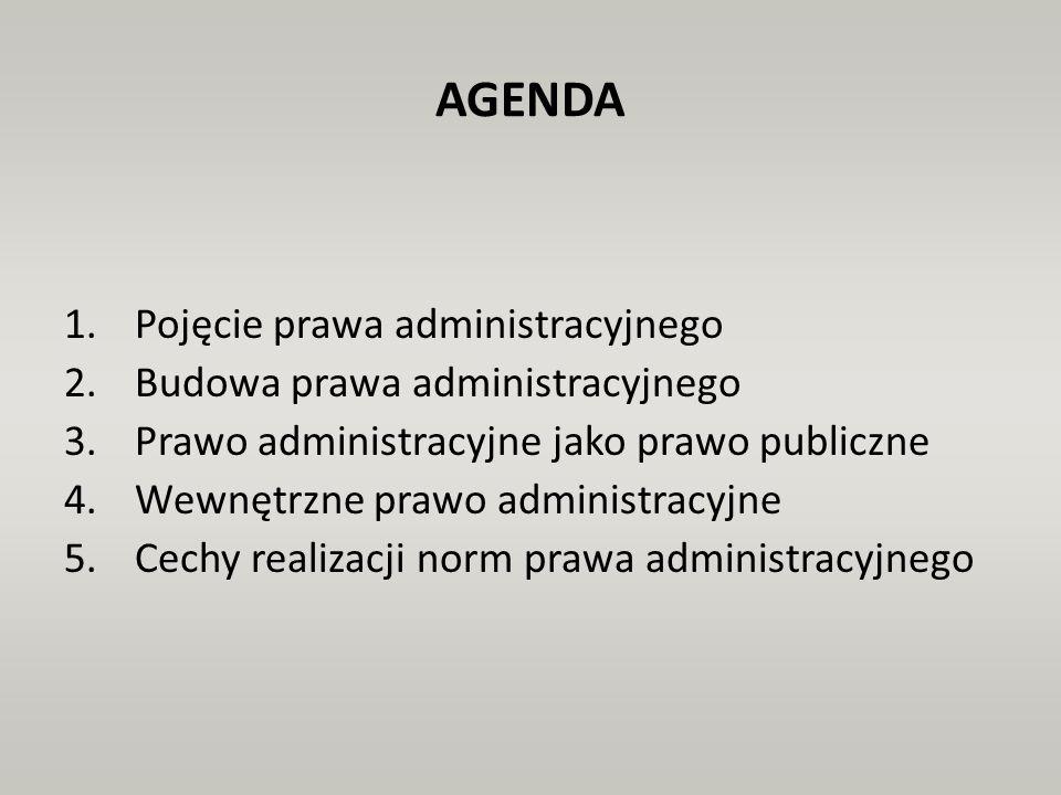 AGENDA 1.Pojęcie prawa administracyjnego 2.Budowa prawa administracyjnego 3.Prawo administracyjne jako prawo publiczne 4.Wewnętrzne prawo administracy