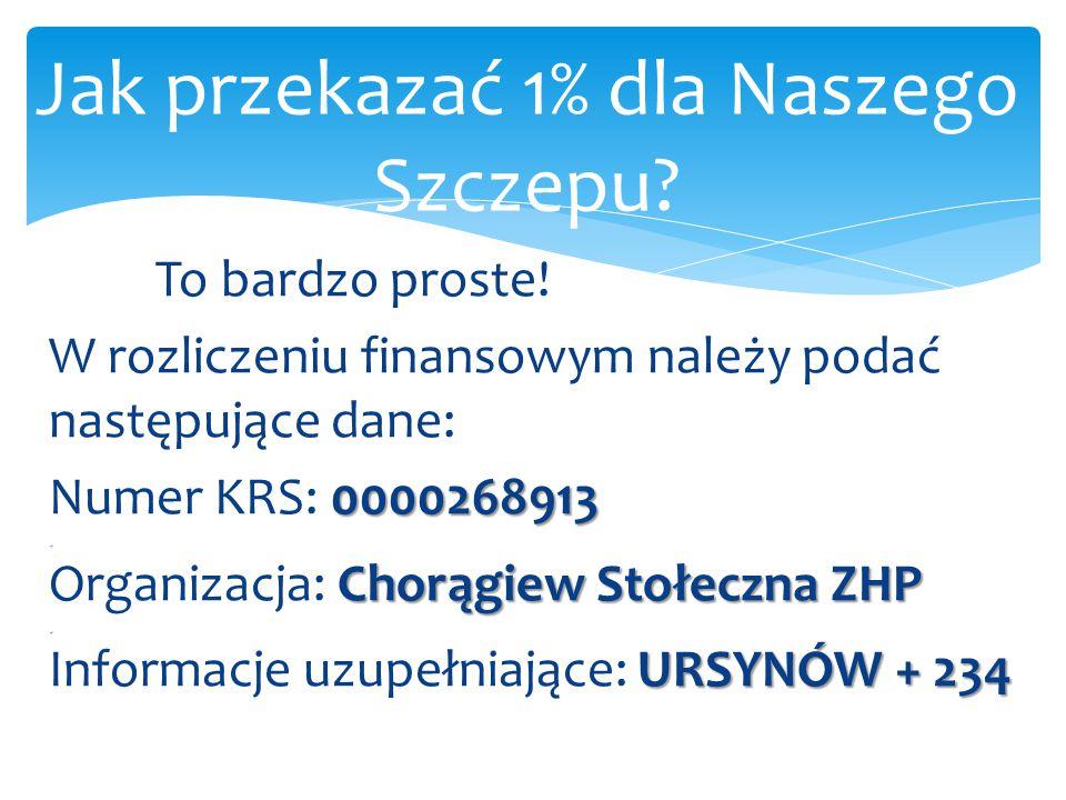 To bardzo proste! W rozliczeniu finansowym należy podać następujące dane: 0000268913. Numer KRS: 0000268913. Chorągiew Stołeczna ZHP. Organizacja: Cho