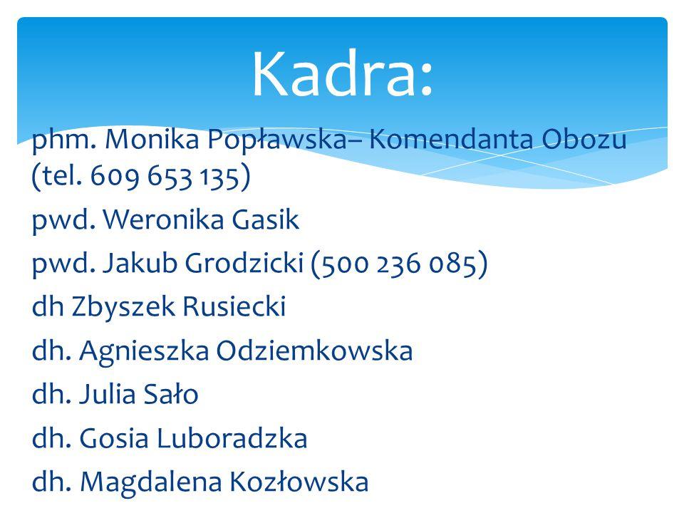 phm. Monika Popławska– Komendanta Obozu (tel. 609 653 135) pwd. Weronika Gasik pwd. Jakub Grodzicki (500 236 085) dh Zbyszek Rusiecki dh. Agnieszka Od