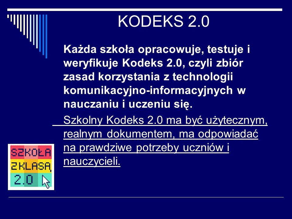 KODEKS 2.0 Każda szkoła opracowuje, testuje i weryfikuje Kodeks 2.0, czyli zbiór zasad korzystania z technologii komunikacyjno-informacyjnych w nauczaniu i uczeniu się.