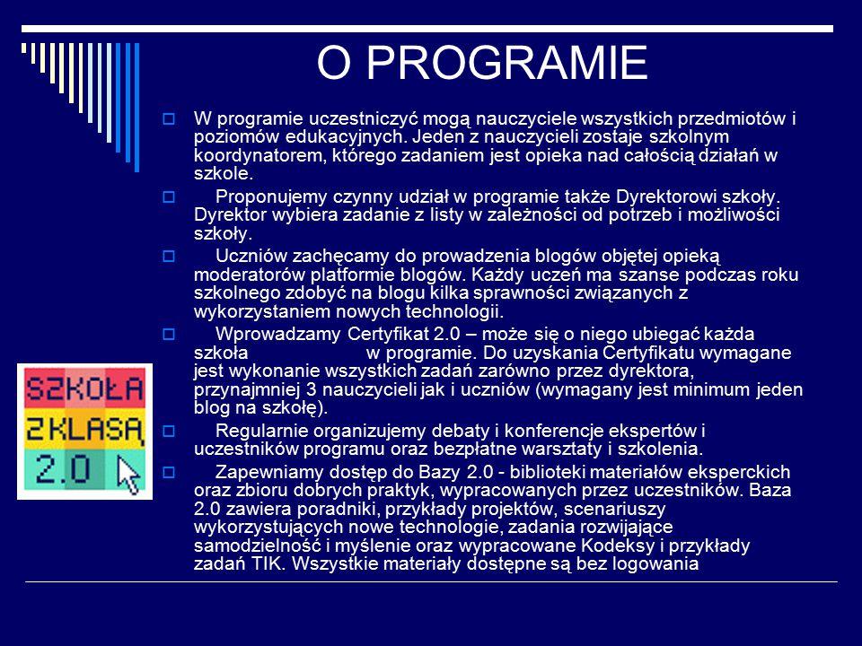 """ZADANIA UCZESTNIKÓW Dokumentacją pracy uczestników są opisy zamieszczane na internetowej """"Platformie Szkoły z klasą 2.0 ."""