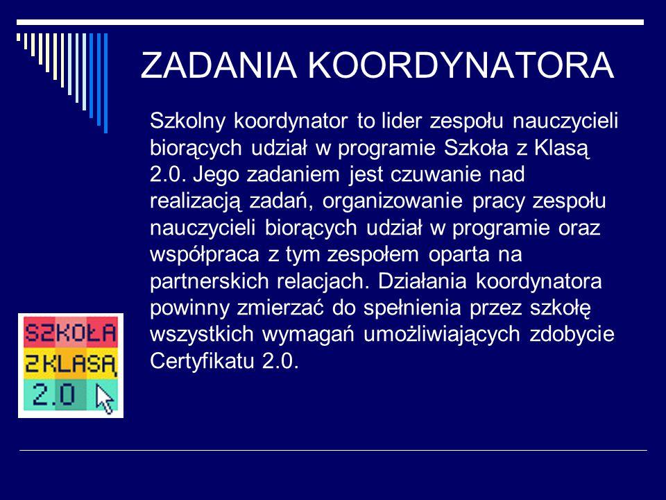 ZADANIA KOORDYNATORA Szkolny koordynator to lider zespołu nauczycieli biorących udział w programie Szkoła z Klasą 2.0.