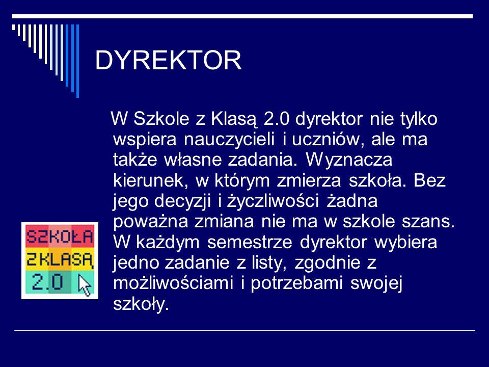DYREKTOR W Szkole z Klasą 2.0 dyrektor nie tylko wspiera nauczycieli i uczniów, ale ma także własne zadania.