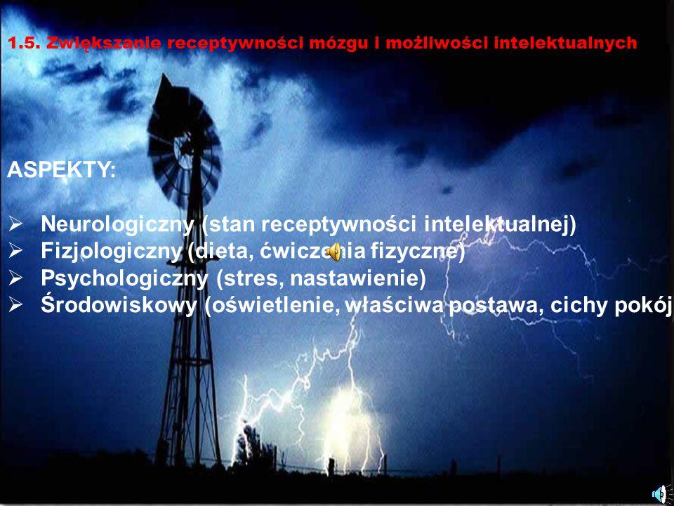 10 ASPEKTY:  Neurologiczny (stan receptywności intelektualnej)  Fizjologiczny (dieta, ćwiczenia fizyczne)  Psychologiczny (stres, nastawienie)  Śr