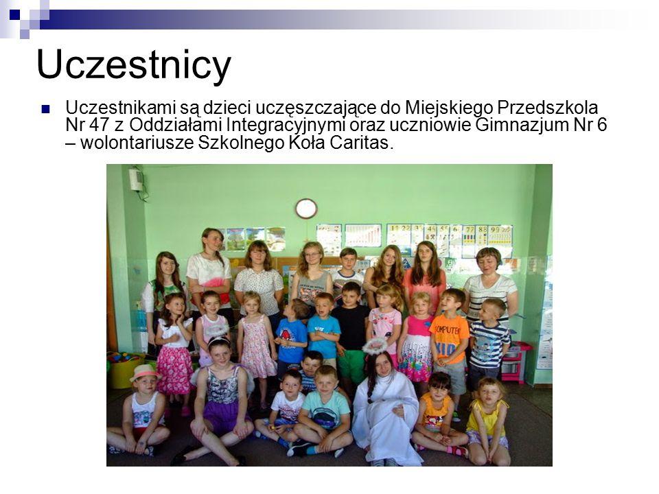 Uczestnicy Uczestnikami są dzieci uczęszczające do Miejskiego Przedszkola Nr 47 z Oddziałami Integracyjnymi oraz uczniowie Gimnazjum Nr 6 – wolontariu
