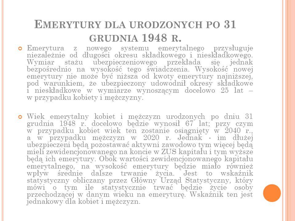 E MERYTURY DLA URODZONYCH PO 31 GRUDNIA 1948 R. Emerytura z nowego systemu emerytalnego przysługuje niezależnie od długości okresu składkowego i niesk