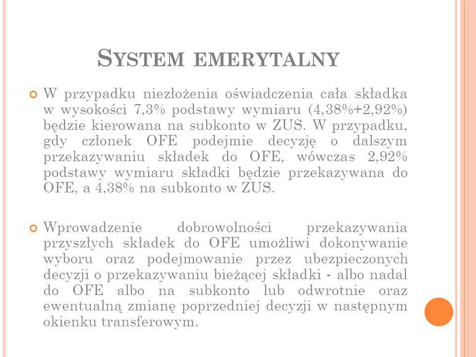 S YSTEM EMERYTALNY W przypadku niezłożenia oświadczenia cała składka w wysokości 7,3% podstawy wymiaru (4,38%+2,92%) będzie kierowana na subkonto w ZU