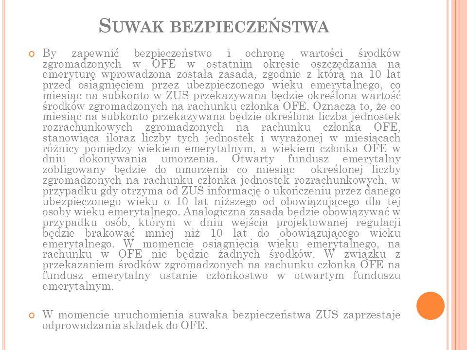 S UWAK BEZPIECZEŃSTWA By zapewnić bezpieczeństwo i ochronę wartości środków zgromadzonych w OFE w ostatnim okresie oszczędzania na emeryturę wprowadzo