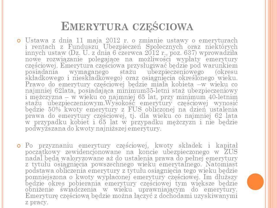 E MERYTURA CZĘŚCIOWA Ustawa z dnia 11 maja 2012 r. o zmianie ustawy o emeryturach i rentach z Funduszu Ubezpieczeń Społecznych oraz niektórych innych