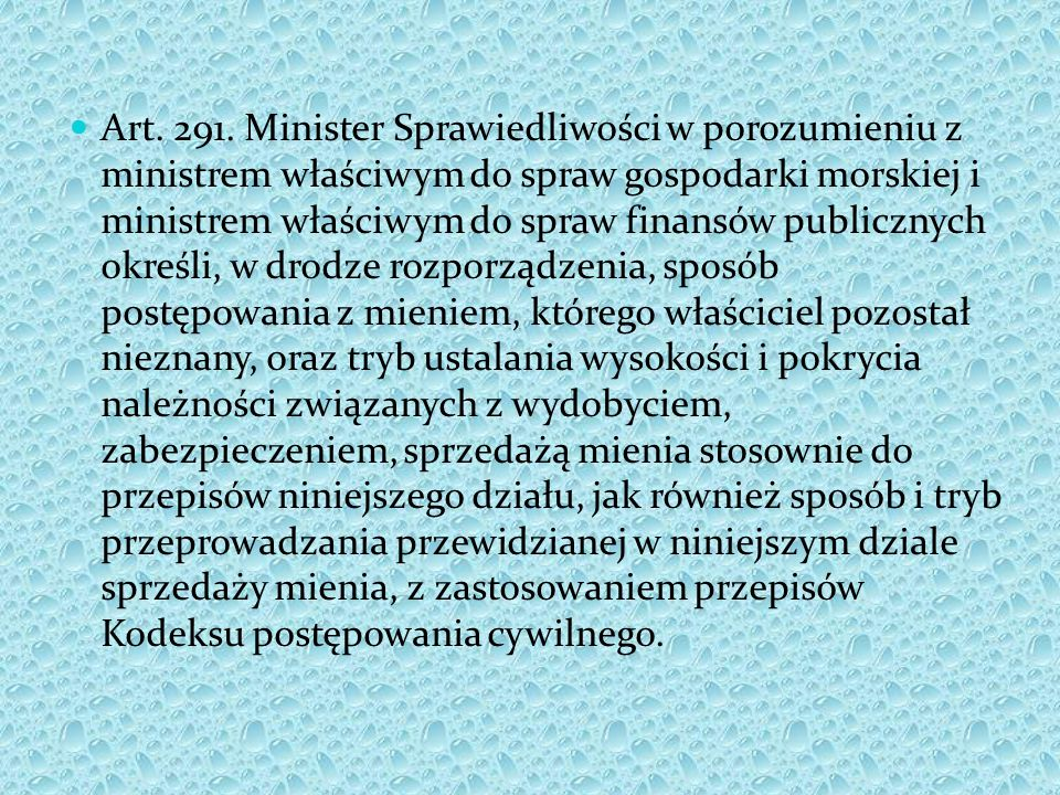 Art. 291. Minister Sprawiedliwości w porozumieniu z ministrem właściwym do spraw gospodarki morskiej i ministrem właściwym do spraw finansów publiczny