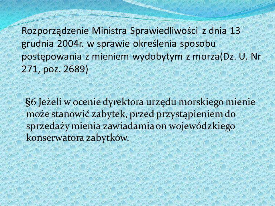 Rozporządzenie Ministra Sprawiedliwości z dnia 13 grudnia 2004r. w sprawie określenia sposobu postępowania z mieniem wydobytym z morza(Dz. U. Nr 271,