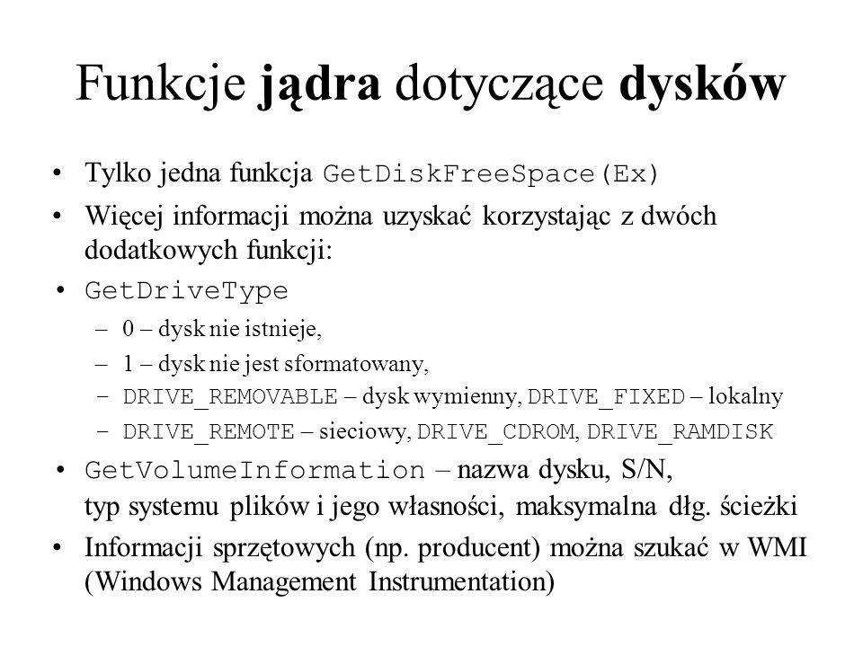 Funkcje jądra dotyczące dysków Tylko jedna funkcja GetDiskFreeSpace(Ex) Więcej informacji można uzyskać korzystając z dwóch dodatkowych funkcji: GetDr