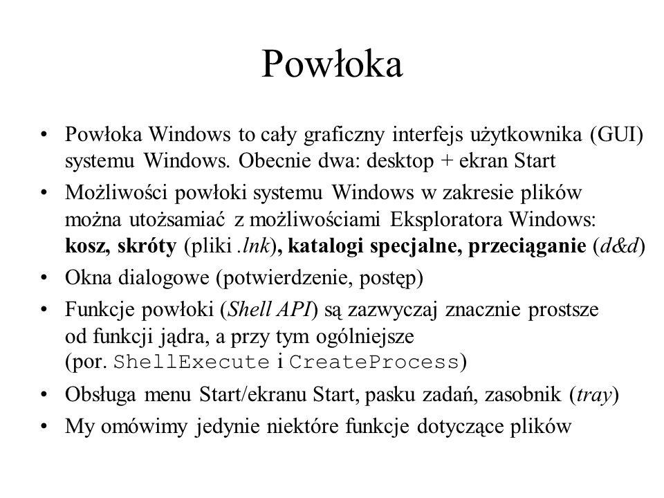 Powłoka Powłoka Windows to cały graficzny interfejs użytkownika (GUI) systemu Windows. Obecnie dwa: desktop + ekran Start Możliwości powłoki systemu W