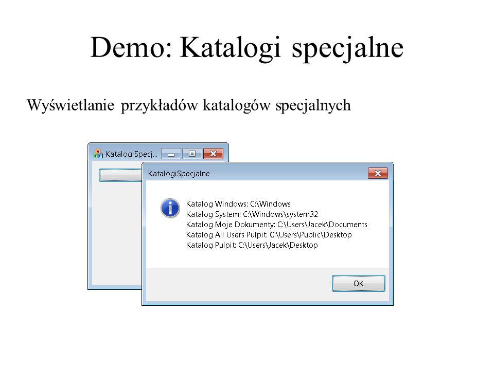 Demo: Katalogi specjalne Wyświetlanie przykładów katalogów specjalnych