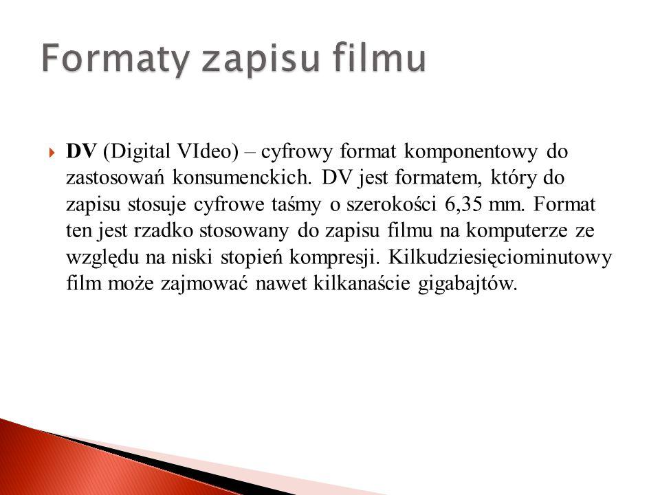  DV (Digital VIdeo) – cyfrowy format komponentowy do zastosowań konsumenckich.