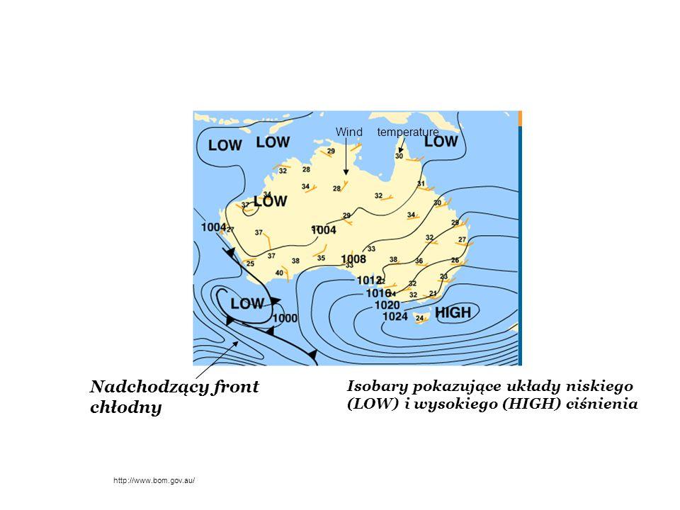 See Also Typical Weather Map for information about weather maps pical Weather Map Isobary pokazujące układy niskiego (LOW) i wysokiego (HIGH) ciśnieni