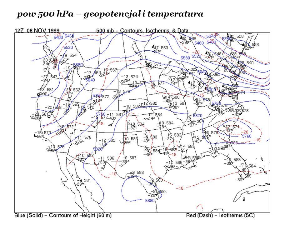 pow 500 hPa – geopotencjał i temperatura