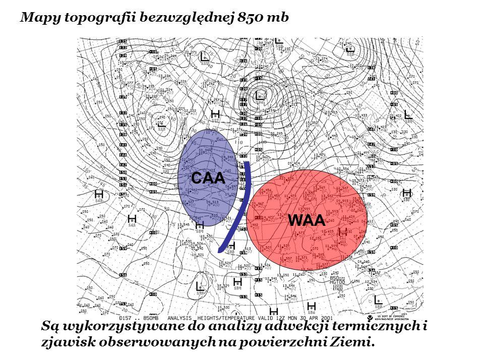 Mapy topografii bezwzględnej 850 mb Są wykorzystywane do analizy adwekcji termicznych i zjawisk obserwowanych na powierzchni Ziemi. WAA CAA