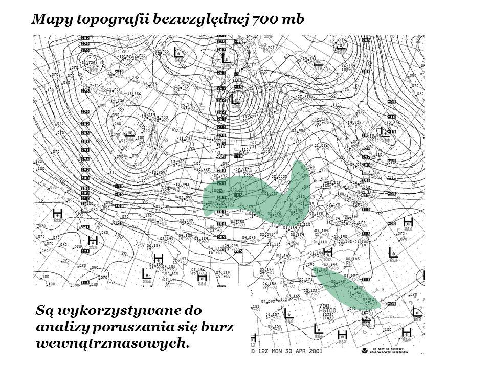 Mapy topografii bezwzględnej 700 mb Są wykorzystywane do analizy poruszania się burz wewnątrzmasowych.