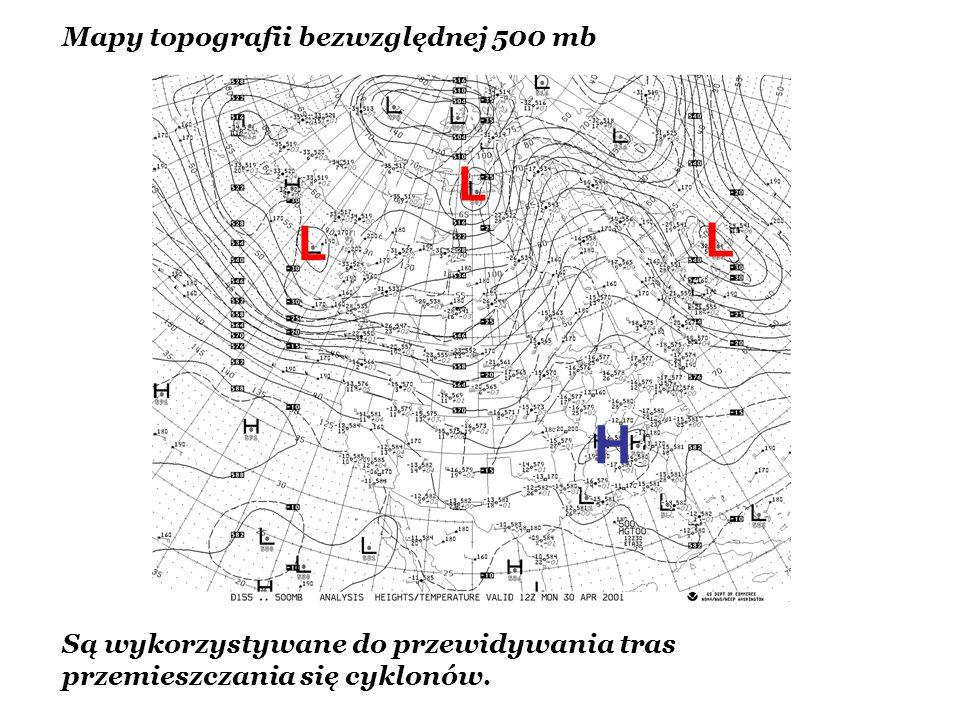 L L L H Mapy topografii bezwzględnej 500 mb Są wykorzystywane do przewidywania tras przemieszczania się cyklonów.