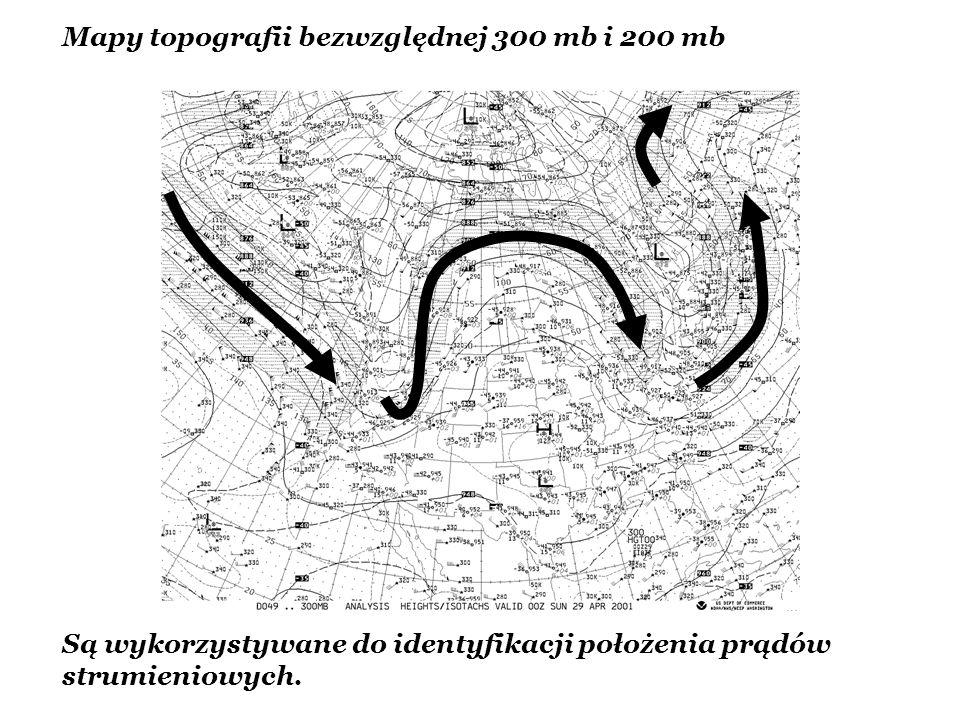 Mapy topografii bezwzględnej 300 mb i 200 mb Są wykorzystywane do identyfikacji położenia prądów strumieniowych.